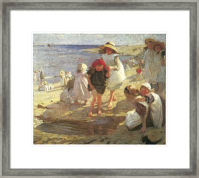 The Beach Framed Print by Laura Knight
