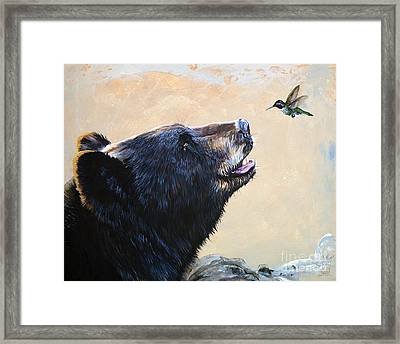 The Bear And The Hummingbird Framed Print by J W Baker
