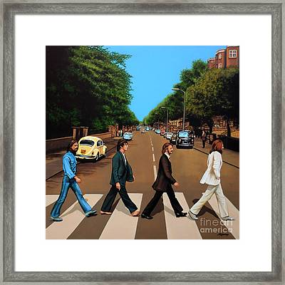 The Beatles Abbey Road Framed Print by Paul Meijering