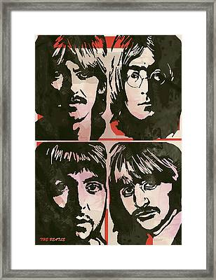 The Beatles Pop Stylised Art Sketch Poster Framed Print by Kim Wang