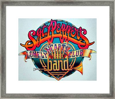 The Beatles Sgt. Pepper's Lonely Hearts Club Band Logo Painting 1967 Color Framed Print by Tony Rubino