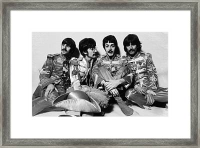 The Beatles Sgt. Pepper's Lonely Hearts Club Band Painting 1967 Black And White Framed Print by Tony Rubino
