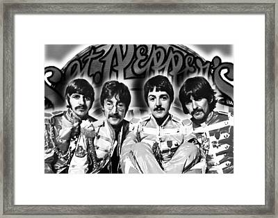 The Beatles Sgt. Pepper's Lonely Hearts Club Band Painting And Logo 1967 Black And White Framed Print by Tony Rubino