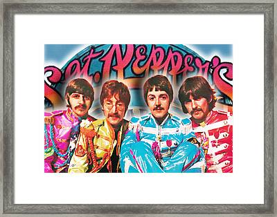 The Beatles Sgt. Pepper's Lonely Hearts Club Band Painting And Logo 1967 Color Framed Print by Tony Rubino