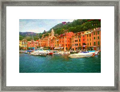 The Beautiful Harbor Of Portofino Framed Print by Mitchell R Grosky