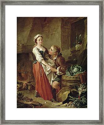 The Beautiful Kitchen Maid Framed Print by Francois Boucher