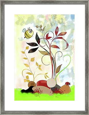 The Bee And The Ladybug Framed Print by Ruth Palmer