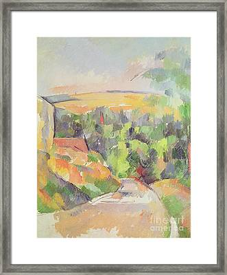 The Bend In The Road Framed Print by Paul Cezanne