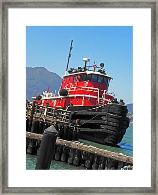 The Big Red Tug Framed Print by Elizabeth Hoskinson