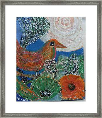 The Bird Is The Word Framed Print by Anne-Elizabeth Whiteway