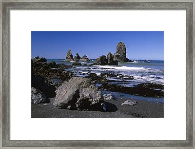 The Black Sands Of Bear Harbor - Sinkyone Wilderness Framed Print by Soli Deo Gloria Wilderness And Wildlife Photography