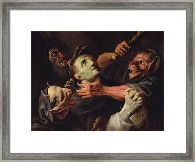 The Blessed Guillaume De Toulouse Tormented By Demons Framed Print by Ambroise Fredeau