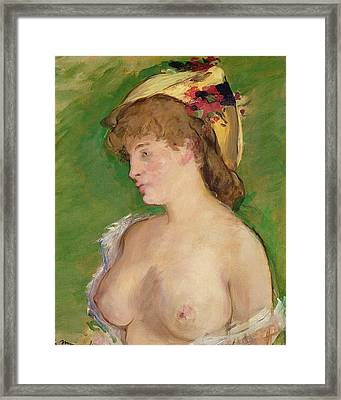 The Blonde With Bare Breasts Framed Print by Edouard Manet