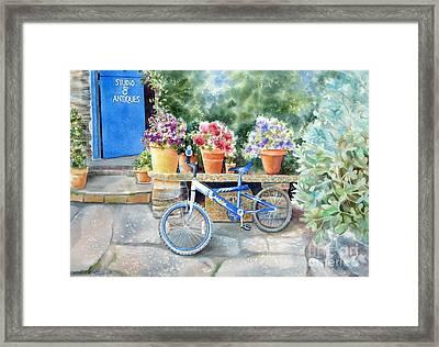 The Blue Bicycle Framed Print by Deborah Ronglien