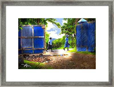 The Blue Gate Framed Print by Bob Salo