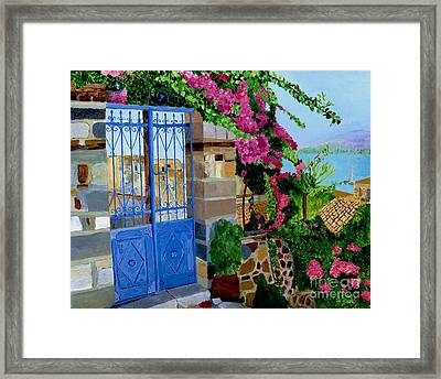 Framed Print featuring the painting The Blue Gate  by Rodney Campbell
