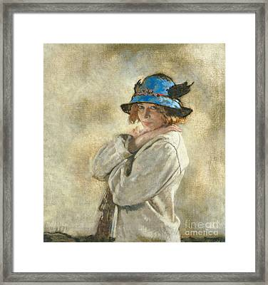 The Blue Hat Framed Print by Sir William Orpen