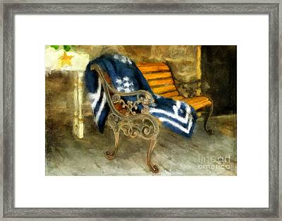 The Blue Quilt On The Bench Framed Print by Lois Bryan