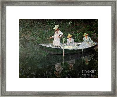 The Boat At Giverny Framed Print by Claude Monet