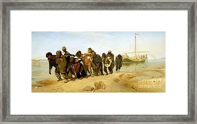 The Boatmen On The Volga Framed Print by Ilya Efimovich Repin