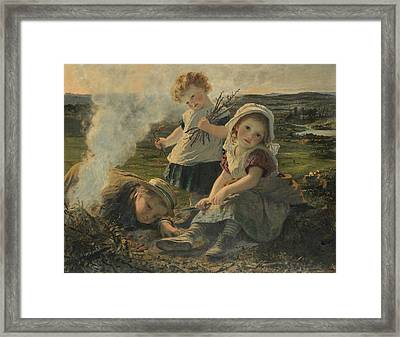 The Bonfire Framed Print by Sophie Gengembre Anderson