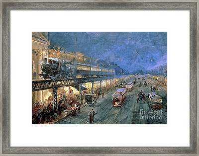 The Bowery At Night Framed Print by William Sonntag
