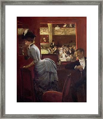 The Box By The Stalls Framed Print by Jean Beraud