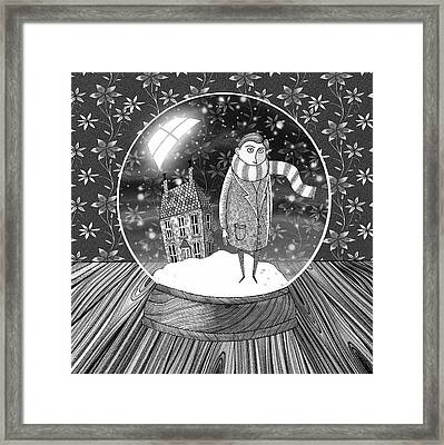 The Boy In The Snow Globe  Framed Print by Andrew Hitchen