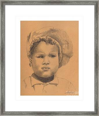 The Boy Who Hated Cheerios -- Portrait Of African-american Child Framed Print by Jayne Somogy