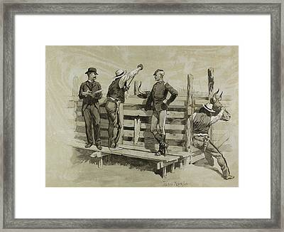The Branding Chute Framed Print by Frederic Remington