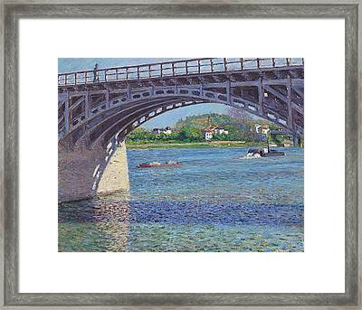 The Bridge At Argenteuil And The Seine Framed Print by Gustave Caillebotte