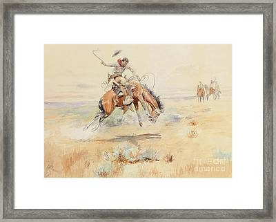 The Bronco Buster Framed Print by Charles Marion Russell