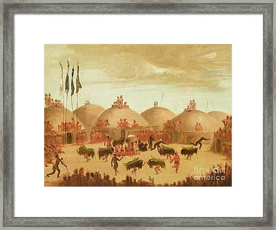 The Bull Dance Framed Print by George Catlin