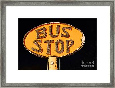 The Bus Stop Framed Print by Rick Mann