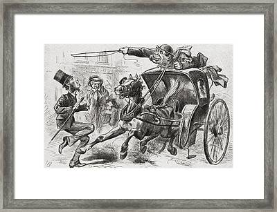 The Cab Fiend Of London. A 19th Century Framed Print by Vintage Design Pics
