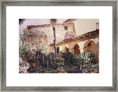 The Cactus Courtyard - Mission Santa Barbara Framed Print by David Lloyd Glover