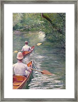 The Canoes Framed Print by Gustave Caillebotte