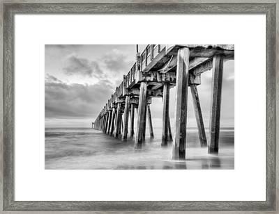 The Casino Beach Pier In Black And White Framed Print by JC Findley