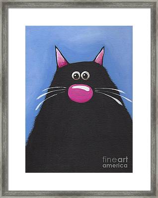 The Cat In Blue Framed Print by Lucia Stewart