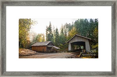The Cedar Creek Grist Mill And Bridge. Framed Print by Jamie Pham