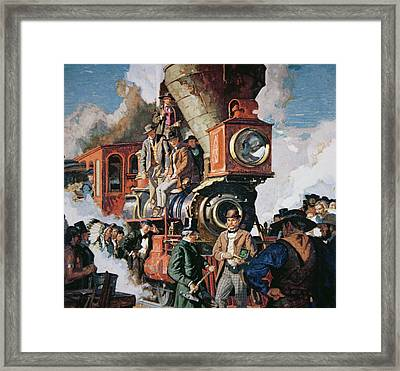 The Ceremony Of The Golden Spike On 10th May Framed Print by Dean Cornwall