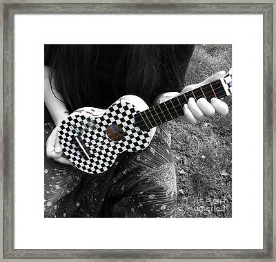 The Checkered Uke Framed Print by Steven  Digman
