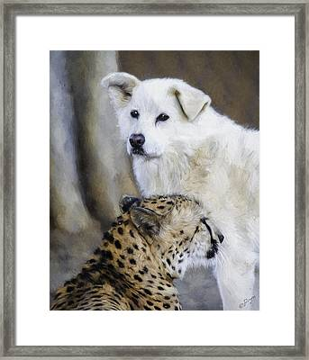 The Cheetah And Her Companion Framed Print by Lynn Andrews