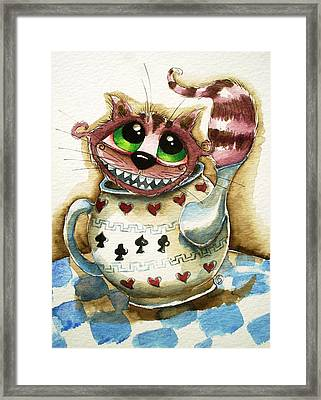 The Cheshire Cat - In A Teapot Framed Print by Lucia Stewart