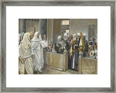 The Chief Priests Ask Jesus By What Right Does He Act In This Way Framed Print by James Jacques Joseph Tissot
