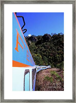 The Chihuahua-pacific Railway Travelling Through The Copper Canyon Framed Print by Sami Sarkis