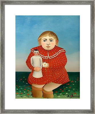 The Child And The Orange Doll Framed Print by Mountain Dreams