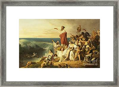 The Children Of Israel Crossing The Red Sea Framed Print by Henri-Frederic Schopin