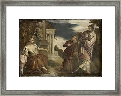 The Choice Between Virtue And Passion Framed Print by Paolo Veronese