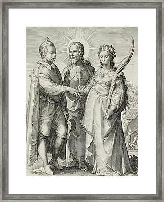The Christian Marriage Framed Print by Jan Saenredam